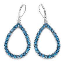 4.32 Carat Genuine London Blue Topaz .925 Sterling Silver Earrings #76914v3