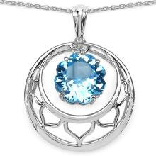 8.75 Carat Genuine Blue Topaz .925 Sterling Silver Fancy Pendant #76604v3