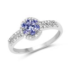 0.51 Carat Genuine Tanzanite and White Topaz .925 Sterling Silver Ring #76584v3