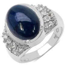 9.90 Carat Genuine Sapphire .925 Sterling Silver Ring #78577v3