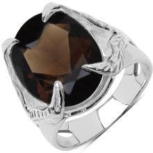 7.80 Carat Genuine Smoky Topaz .925 Sterling Silver Ring #77528v3
