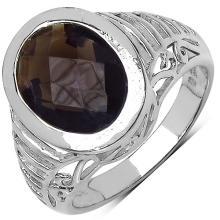 5.40 Carat Genuine Smoky Quartz Sterling Silver Ring #76797v3