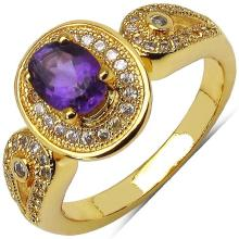 14K Yellow Gold Plated 1.30 Carat Amethyst and White Cubic Zircon Brass Ring #76938v3