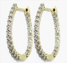 CERTIFIED 1.55 CT H/SI DIAMOND EARRING 10K GOLD #89068v3