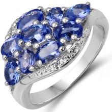 2.15 Carat Genuine Tanzanite & White Topaz .925 Sterling Silver Ring #78614v3