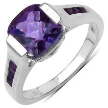 2.10 Carat Genuine Amethyst .925 Sterling Silver Ring #78490v3