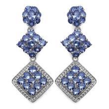 4.90 Carat Genuine Tanzanite .925 Sterling Silver Earrings #77115v3