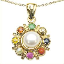 18K Yellow Gold Plated 2.73 Carat Genuine Multi Stone .925 Sterling Silver Pendant #76930v3