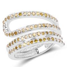 0.74 Carat Genuine Yellow Diamond .925 Sterling Silver Ring #77949v3