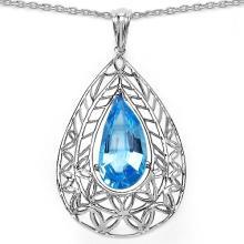 7.20 Carat Genuine Blue Topaz .925 Sterling Silver Fancy Pendant #76607v3