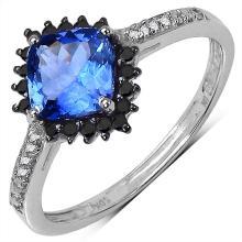 1.01 Carat Genuine Tanzanite and 0.19 ct.t.w Genuine Diamond Accents 10K White Gold Ring #77736v3