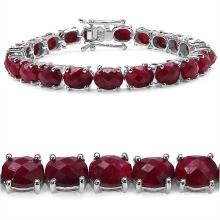 39.10 Carat Genuine Ruby .925 Sterling Silver Bracelet #76865v3