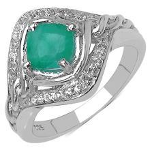 1.14 Carat Genuine Emerald & White Topaz .925 Streling Silver Ring #78434v3