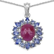 4.53 Carat Genuine Pink Sapphire & Tanzanite .925 Streling Silver Pendant #77866v3