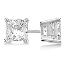 Certified 1.01 CTW Princess Diamond Stud Earrings E/SI1 #84086v3
