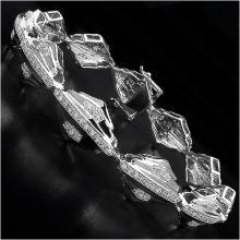 14K Yellow Gold Plated 1.07 Carat Genuine White Diamond Sterling Silver Bracelet #77633v3