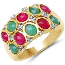 14K Yellow Gold Plated 2.72 Carat Genuine Emerald, Ruby & White Topaz .925 Sterling Silver Ring #78580v3