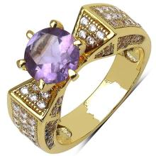 14K Yellow Gold Plated 2.17 Carat Amethyst and White Cubic Zircon Brass Ring #76925v3