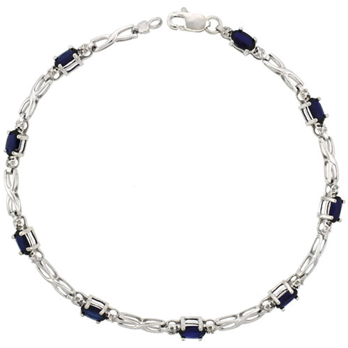 10k White Gold XOXO Hugs & Kisses Tennis Bracelet 0.05 ct Diamonds & 2.25 ct Oval Created Blue Sapphire, 1/8 inch wide #15415v3