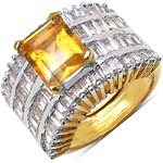 Citrine:Octagon/10x8mm 1/2.75 ctw + Cubic Zircon White:Baguette/3.00x2.00mm 50/2.50 ctw #28298v3