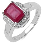 Ruby Glass Filled:Octagon/8x6mm 1/1.85 ctw + Topaz White:Round/1.00mm 26/0.13 ctw #28258v3