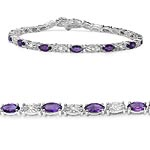 Amethyst:Marquise/6x3mm 15/3.45 ctw + Diamond White:Round/1.00mm 15/0.09 ctw #28422v3