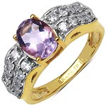 Amethyst:Oval/8X6mm 1/1.20 ctw + Cubic Zircon White:Round/2.00mm 16/1.12 ctw #28299v3