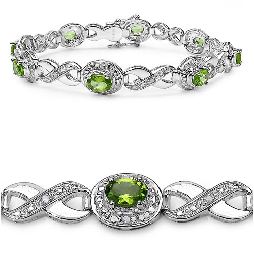 Diamond White:Round/1.30mm 12/0.13mm + Peridot:Oval/6x4mm 8/3.60 ctw #33194v3