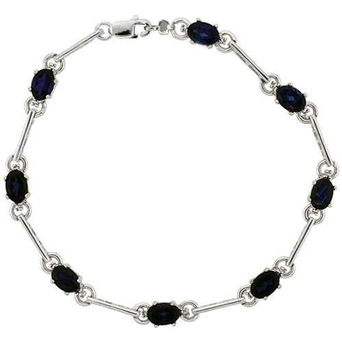10k White Gold Dash Bar Tennis Bracelet 0.05 ct Diamonds & 4.0 ct Oval Created Blue Sapphire, 3/16 inch wide #15417v3