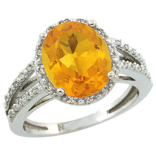 Sterling Silver Diamond Halo Natural Citrine Ring Oval 11x9 mm, sizes 5-10 #15464v3
