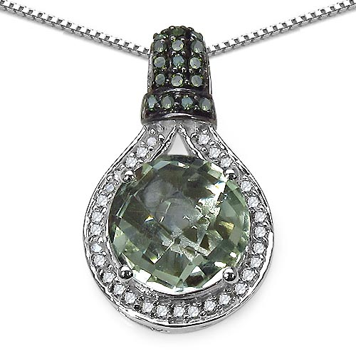 Amethyst Green:Round/10.00mm 1/3.75 ctw + Diamond Green:Round/1.10mm 8/0.06 ctw + Diamond White:Round/1.00mm 38/0.22 ctw #33638v3