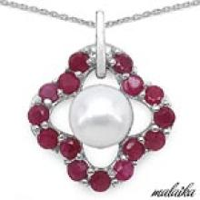 Pearl:Round 1/2.50 ctw + Ruby:Round/2.50mm 15/1.83 ctw #28206v3