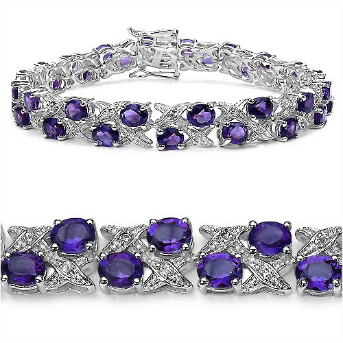 Amethyst:Oval/5x4mm 36/12.24 Ctw + Topaz White:Round/ 1.20mm 36/0.36 Ctw #33356v3