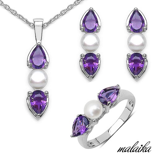 Amethyst:Pear/6x4mm 8/2.80 ctw + Pearl:Round/5.00mm 4/2.80 ctw #33573v3
