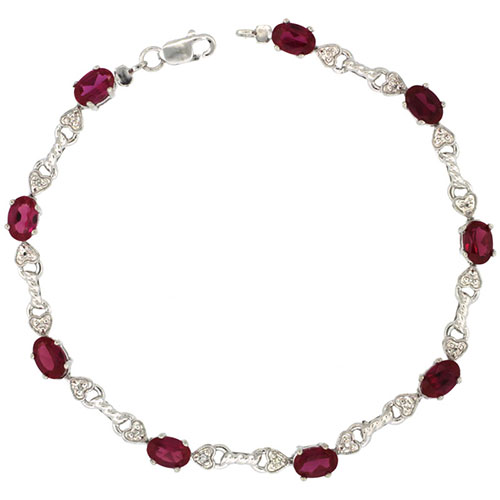 10k White Gold Braided Heart Tennis Bracelet 0.05 ct Diamonds & 4.50 ct Oval Created Ruby, 3/16 inch wide #15414v3