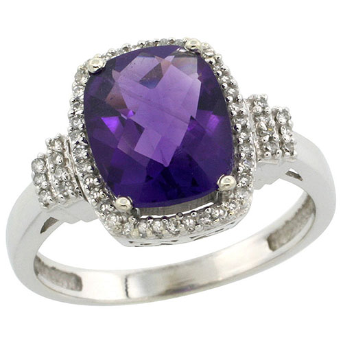 10k White Gold Natural Amethyst Ring Cushion-cut 9x7mm Diamond Halo, sizes 5-10 #15554v3