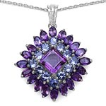 Amethyst:Square/8.00mm + Amethyst:Oval/5x3mm 20/5.4 ctw + Tanzanite:Round/3.50mm 12/2.28 ctw #28255v3