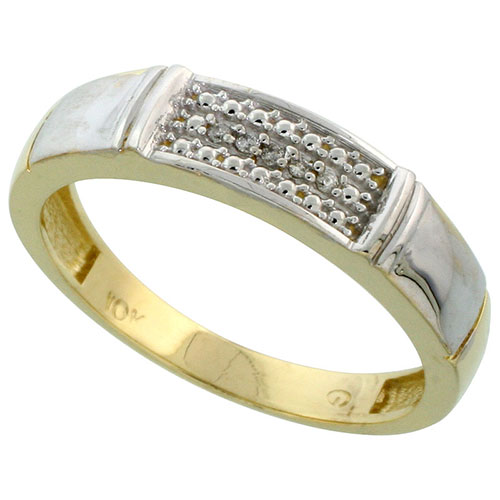 10k Yellow Gold Mens Diamond Wedding Band Ring 0.03 cttw Brilliant Cut, 5/32 inch 4mm wide #15442v3