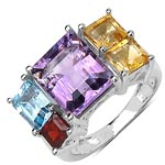 Amethyst:Octagon/11x9mm 1/3.80 ctw + Citrine:Square/ 5.00mm 2/1.20 ctw + Garnet:Square/ 4.00mm 1/0.50 ctw + Topaz Blue:Octagon/7x5mm 1/1.07 ctw #28321v3