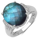 Labradorite:Oval/14x12mm + Topaz White:Round/1.00mm 12 /0.06 ctw #28260v3