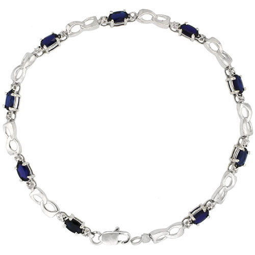 10k White Gold Double Loop Tennis Bracelet 0.05 ct Diamonds & 2.25 ct Oval Created Blue Sapphire, 1/8 inch wide #15416v3