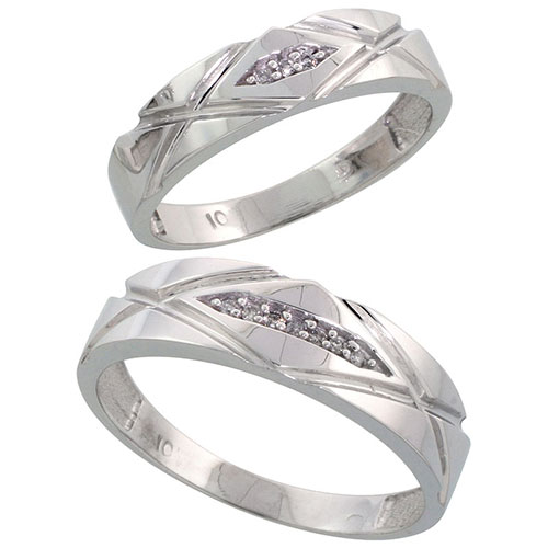 10k White Gold Diamond Wedding Rings Set for him 6mm and her 5mm 2-Piece 0.06 cttw Brilliant Cut, ladies sizes 5 ? 10, mens sizes 8 - 14 #15421v3