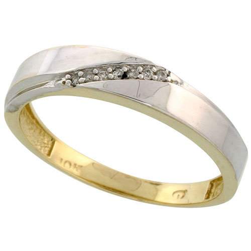 10k Yellow Gold Mens Diamond Wedding Band Ring 0.04 cttw Brilliant Cut, 3/16 inch 4.5mm wide #15447v3
