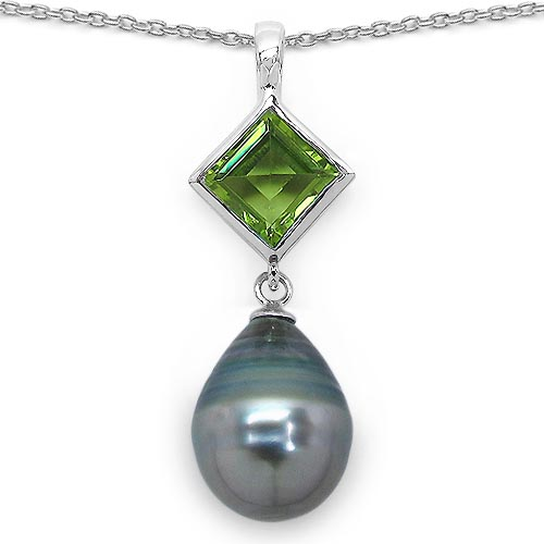 Pearl:Drop/13X11mm 1 + Peridot:Square/7mm 1/1.56 ctw #33601v3