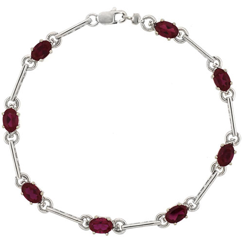 10k White Gold Dash Bar Tennis Bracelet 0.05 ct Diamonds & 4.0 ct Oval Created Ruby, 3/16 inch wide #15413v3