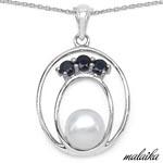 Pearl:Round 1/2.50ct + Sapphire Blue:Round/3.00mm 3/0.51 ctw #28187v3