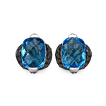 Topaz Blue:Briolite Cushion/8x6mm 2/3.20 ctw + Diamond Black:Round/1.20mm 60/0.54 ctw #28519v3