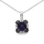 Amethyst:Cushion/8.00mm 1/1.80 ctw + Sapphire White:Round/2.00mm 8/0.40 ctw + Diamond White:Round/1.20mm 8/0.07 ctw + Diamond Black:Round/1.10mm 16/0.11 ctw #28286v3