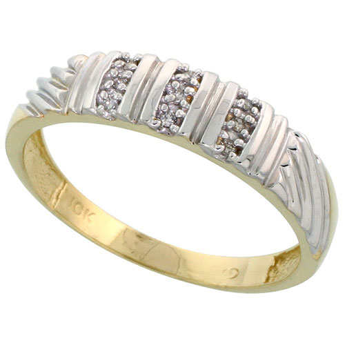 10k Yellow Gold Mens Diamond Wedding Band Ring 0.05 cttw Brilliant Cut, 1/4 inch 6mm wide #15449v3