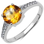 Citrine:Round/7.00mm 1/1.20 Ctw + Topaz White:Round/1.25mm 12/0.12 Ctw #28329v3